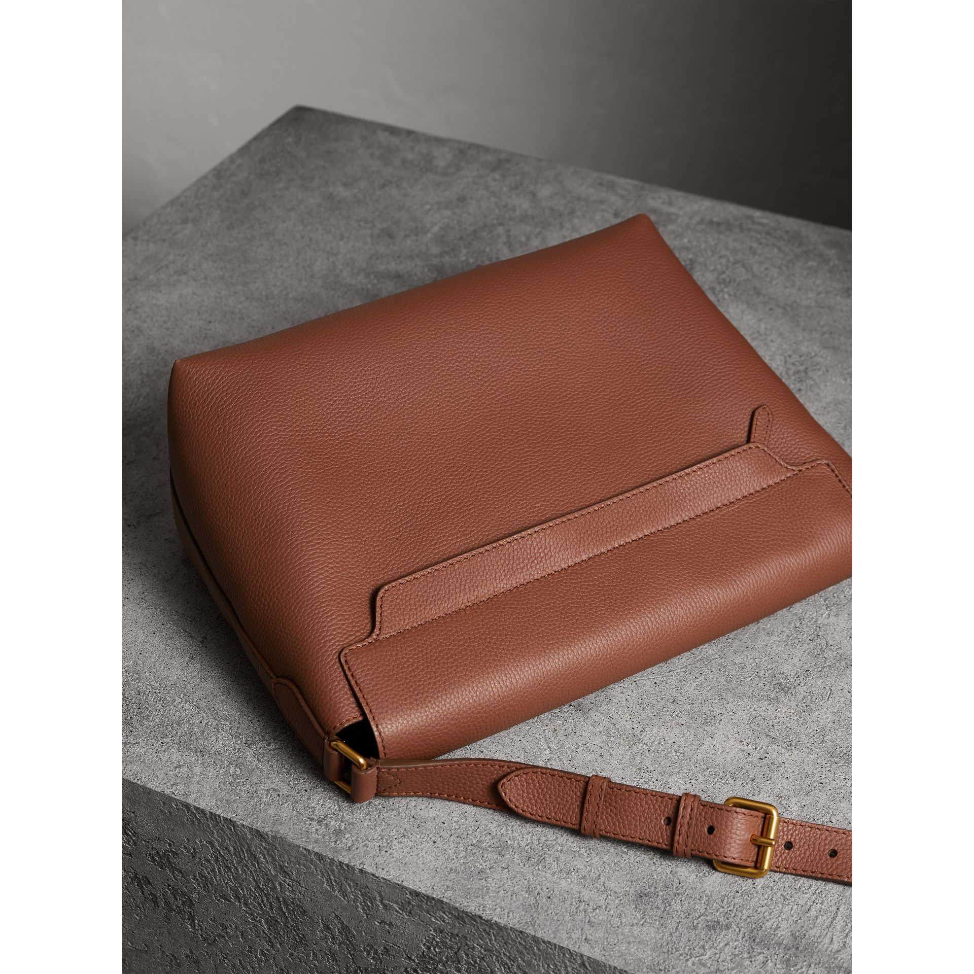Large Embossed Leather Messenger Bag in Chestnut Brown | Burberry - gallery image 3