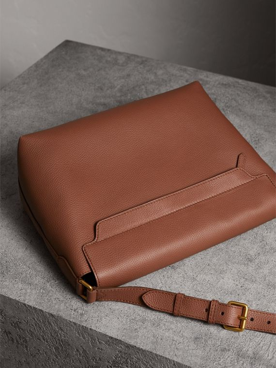 Large Embossed Leather Messenger Bag in Chestnut Brown | Burberry - cell image 2