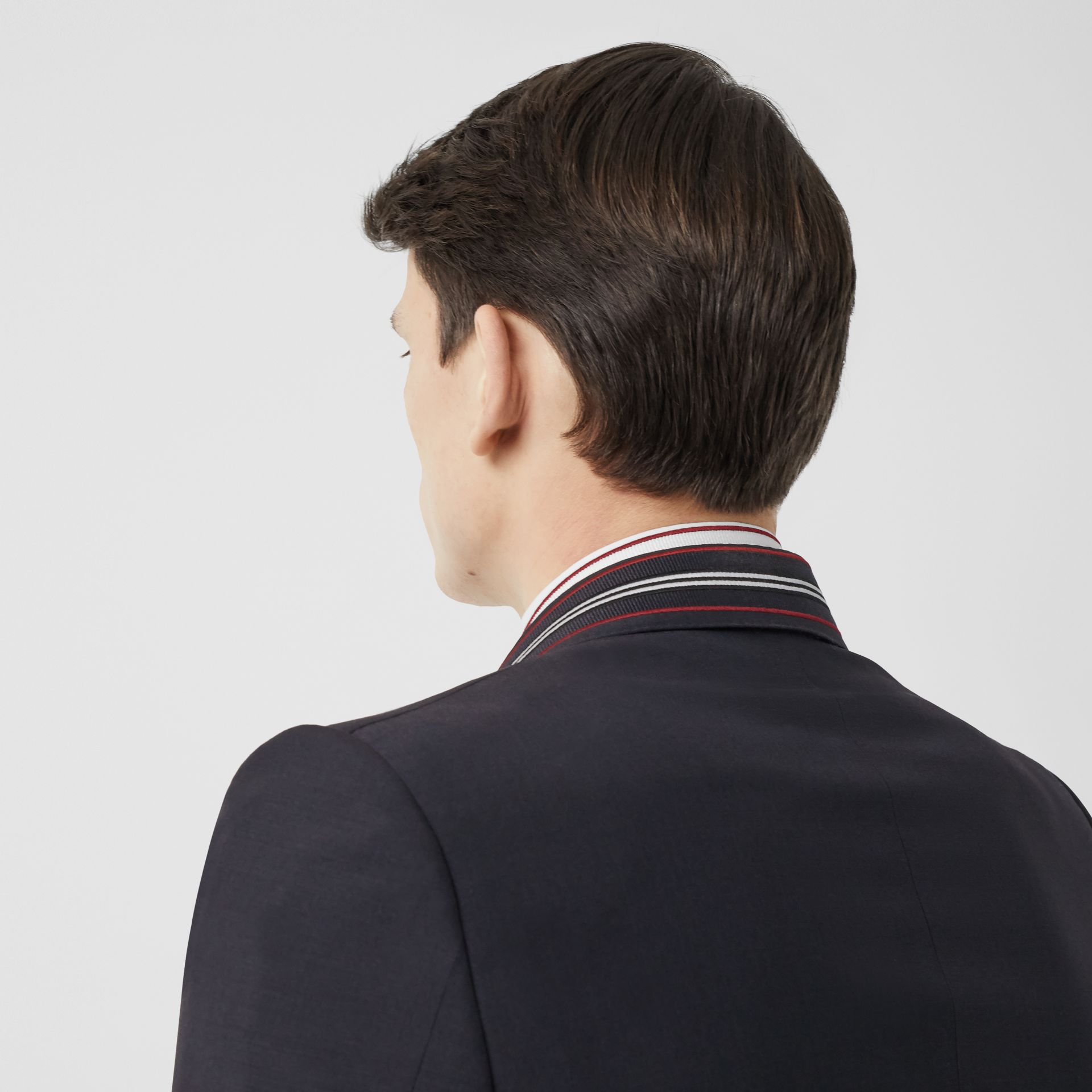 English Fit Stripe Detail Wool Mohair Tailored Jacket in Navy | Burberry - gallery image 5