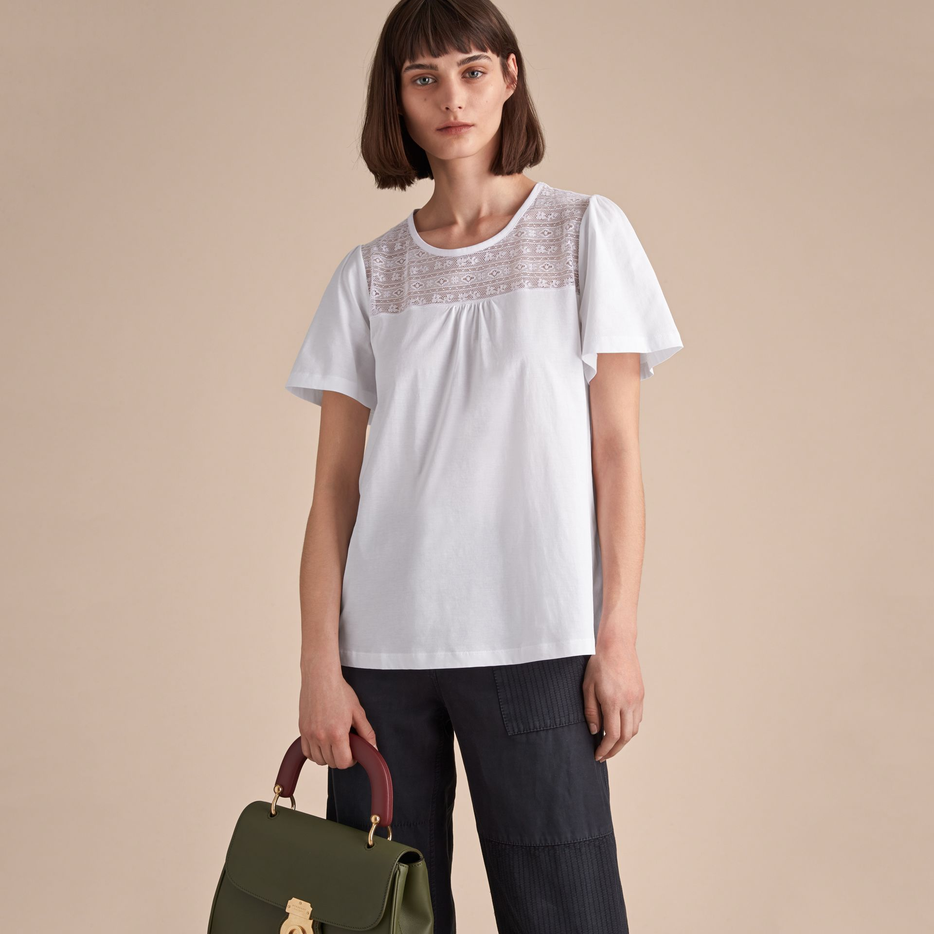 Lace Panel Cotton T-shirt - gallery image 6