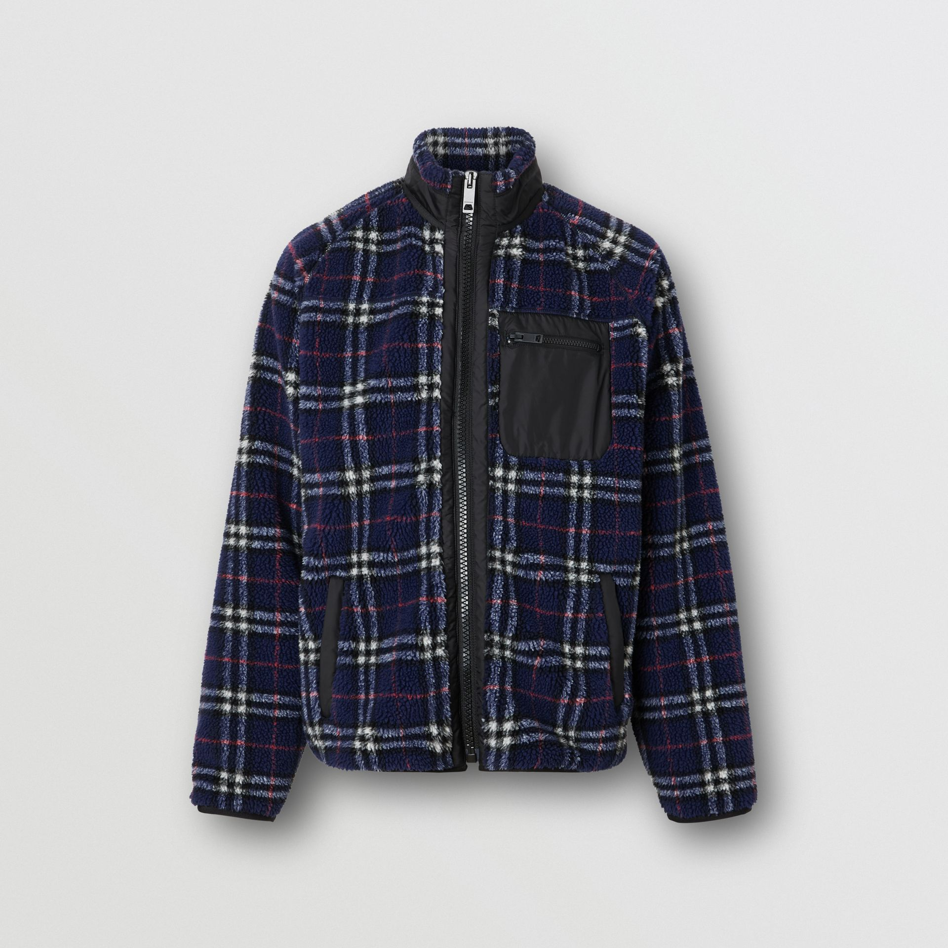 Vintage Check Faux Shearling Jacket in Navy - Men | Burberry - gallery image 3