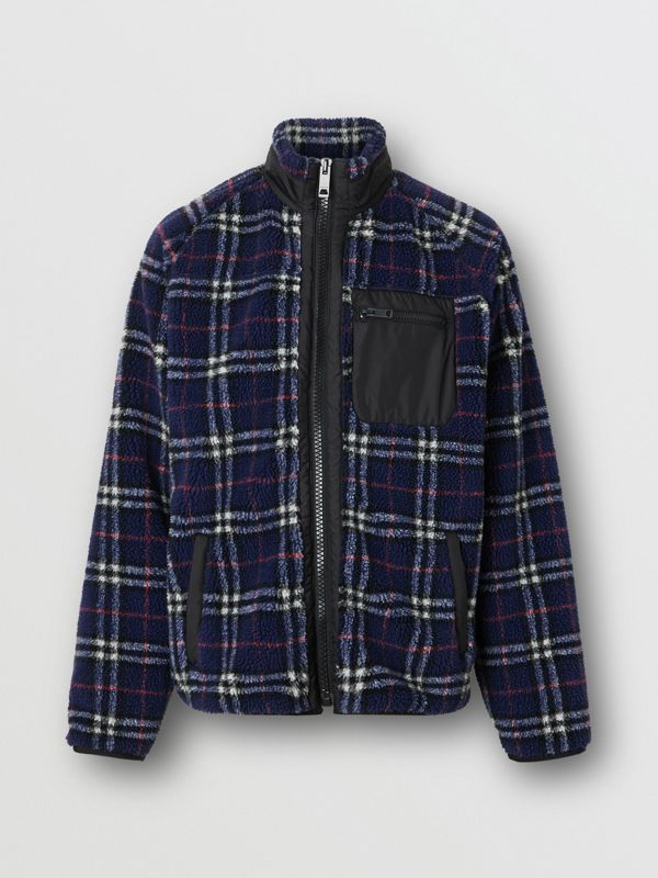 Vintage Check Faux Shearling Jacket in Navy - Men | Burberry - cell image 3