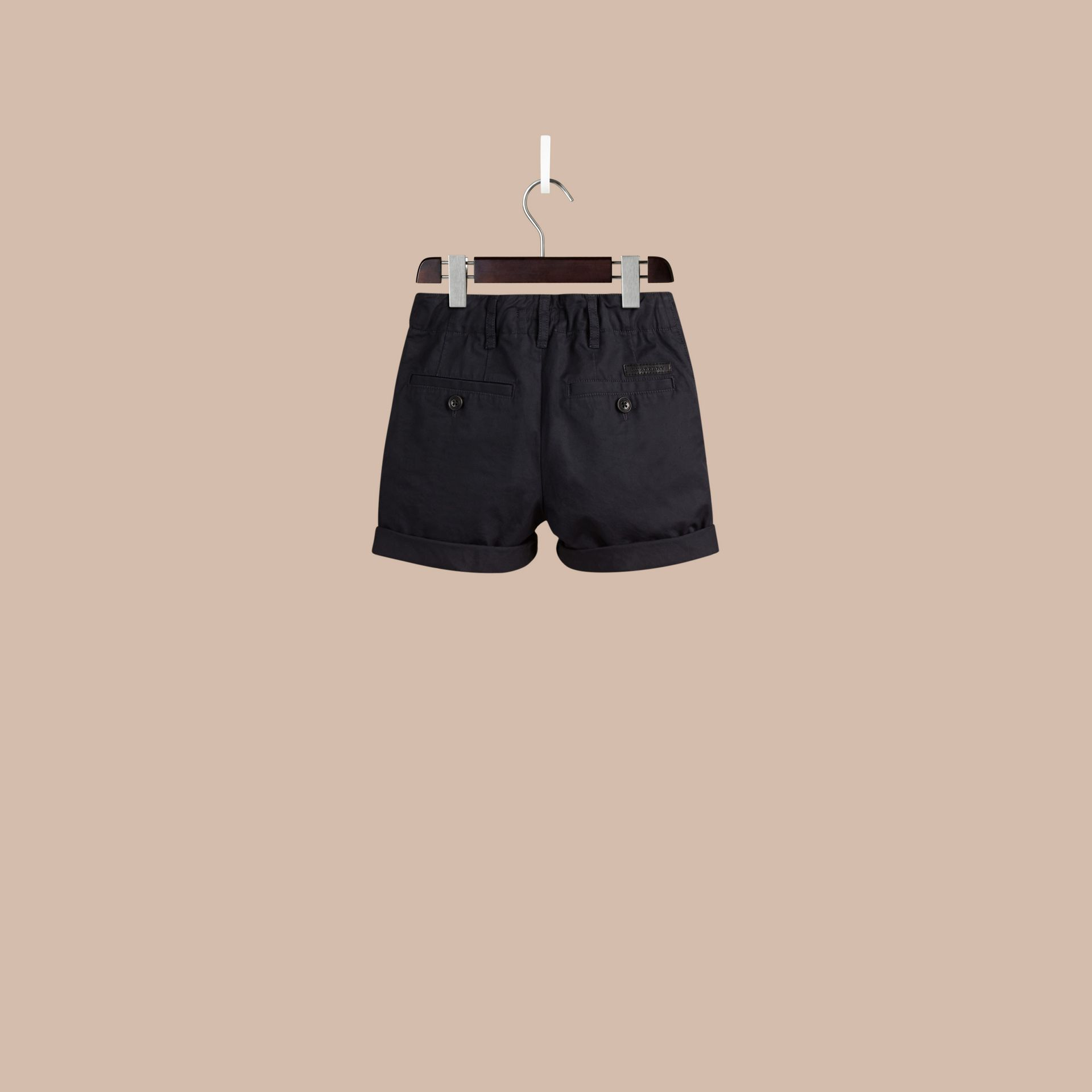 Check Detail Cotton Chino Shorts in Ink - Boy | Burberry Hong Kong - gallery image 3