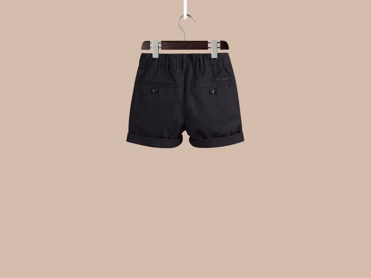 Check Detail Cotton Chino Shorts in Ink - Boy | Burberry - cell image 2