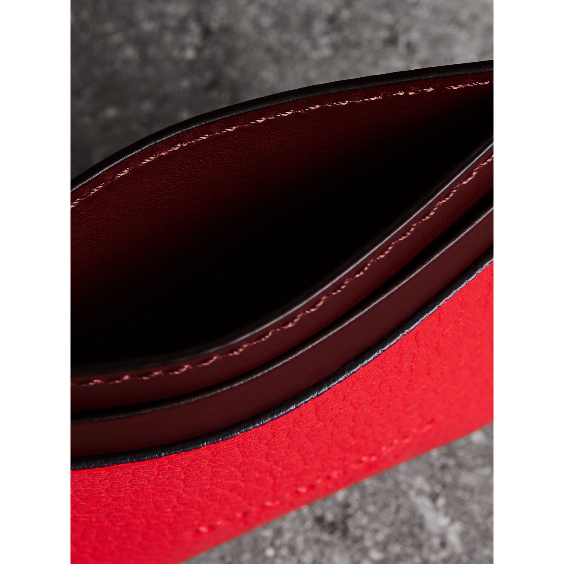 Two-tone Leather Card Case in Bright Red - Women | Burberry Canada - gallery image 3