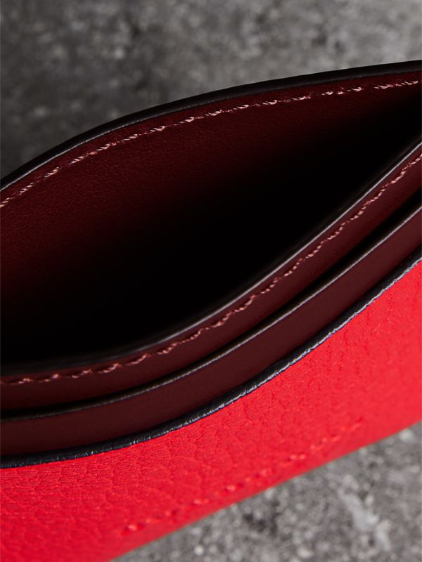 Two-tone Leather Card Case in Bright Red - Women | Burberry United Kingdom - cell image 3