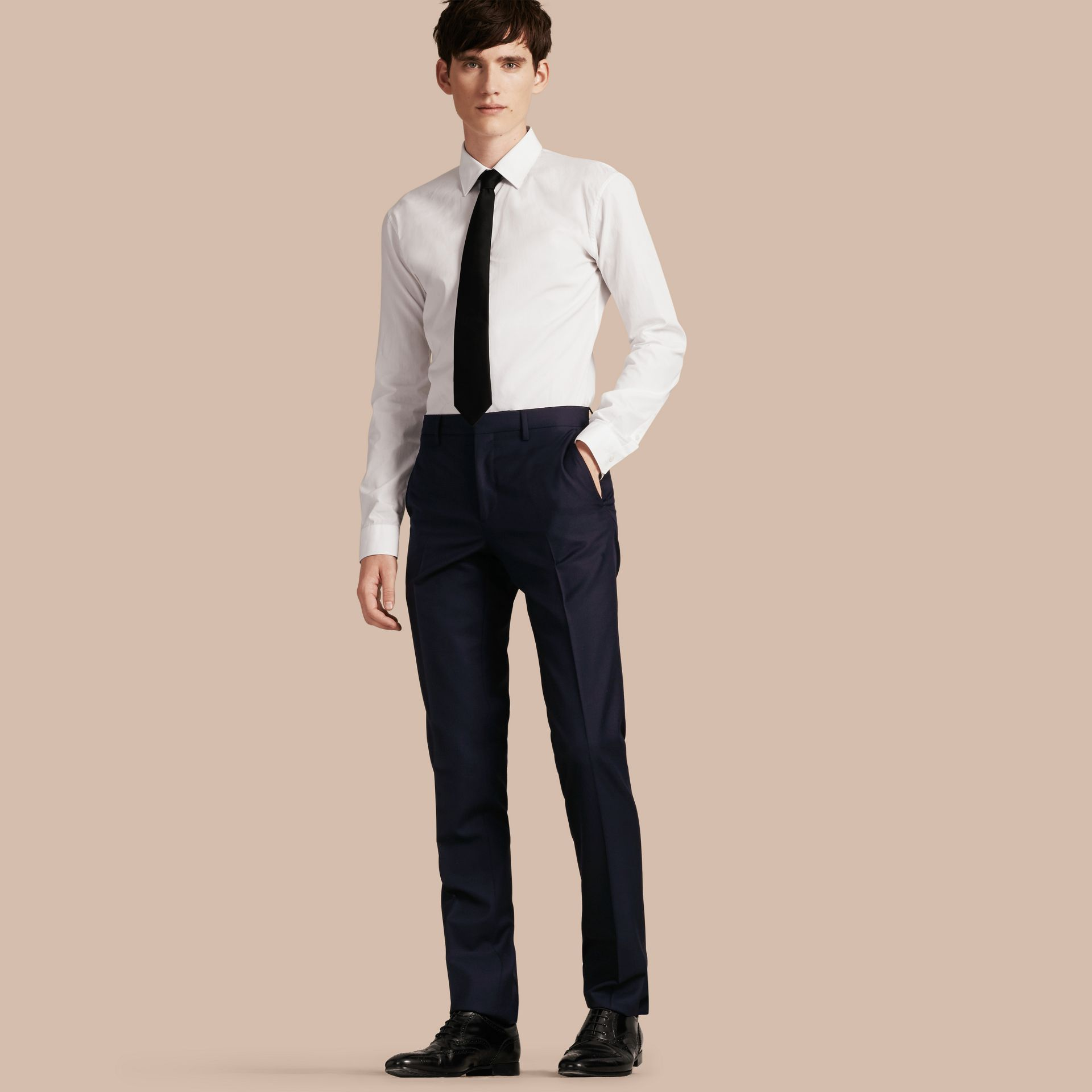 Slim Fit Wool Trousers in Navy - Men | Burberry - gallery image 0