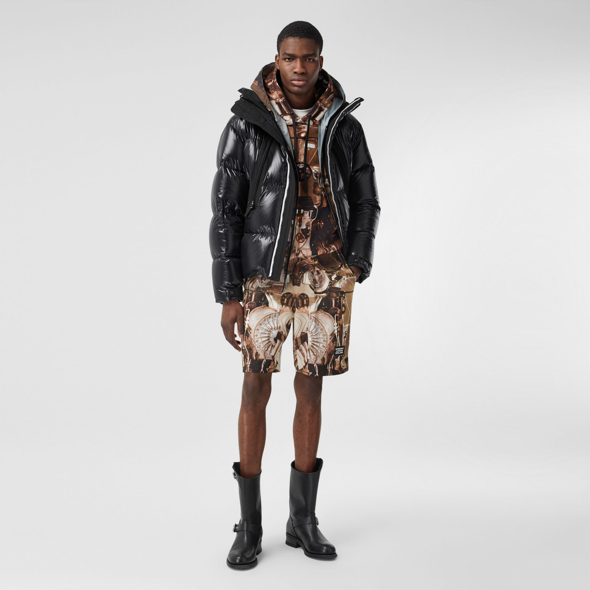 Submarine Print Mesh Shorts in Bronze - Men | Burberry - gallery image 0
