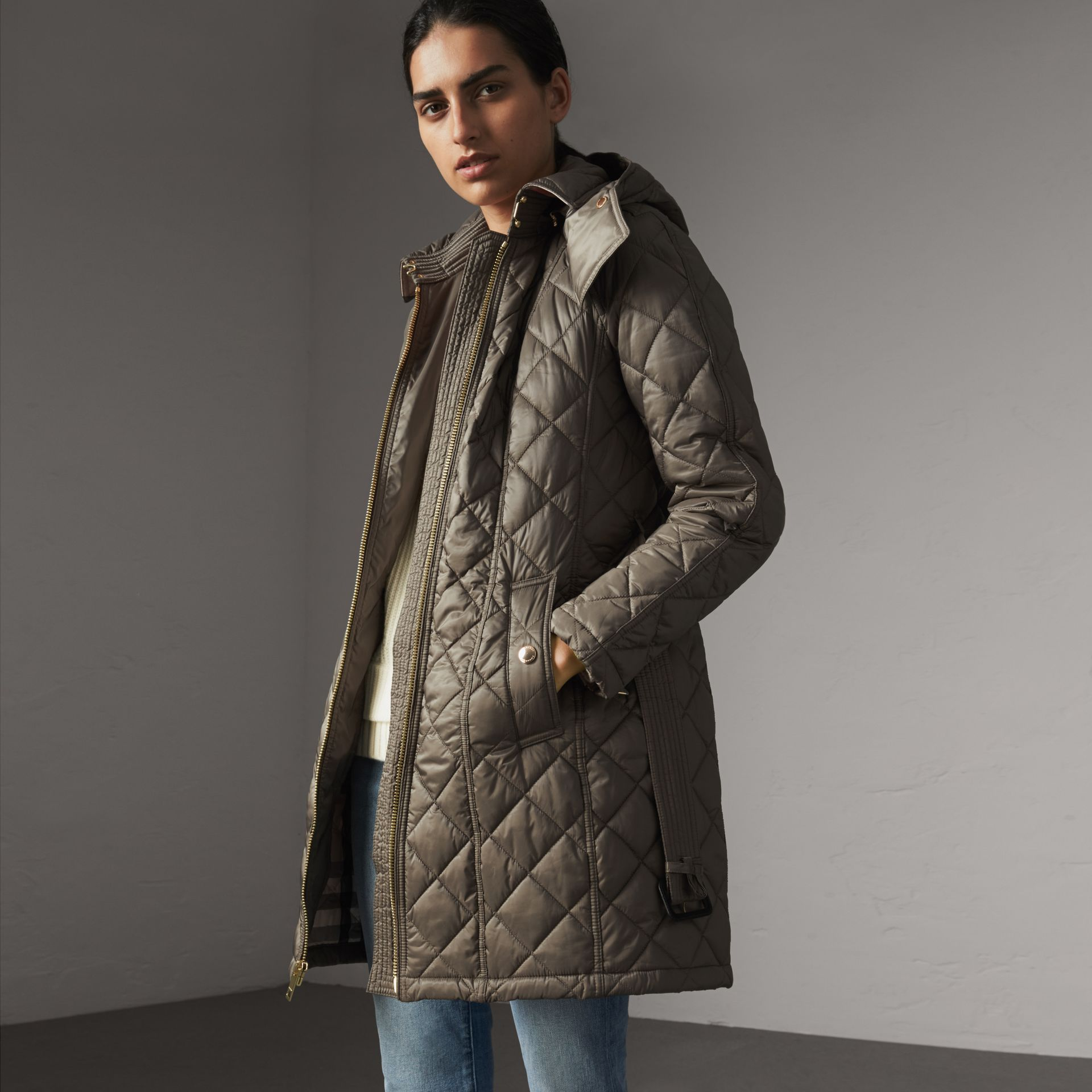 Detachable Hood Quilted Showerproof Parka in Mink Grey - Women | Burberry - gallery image 0