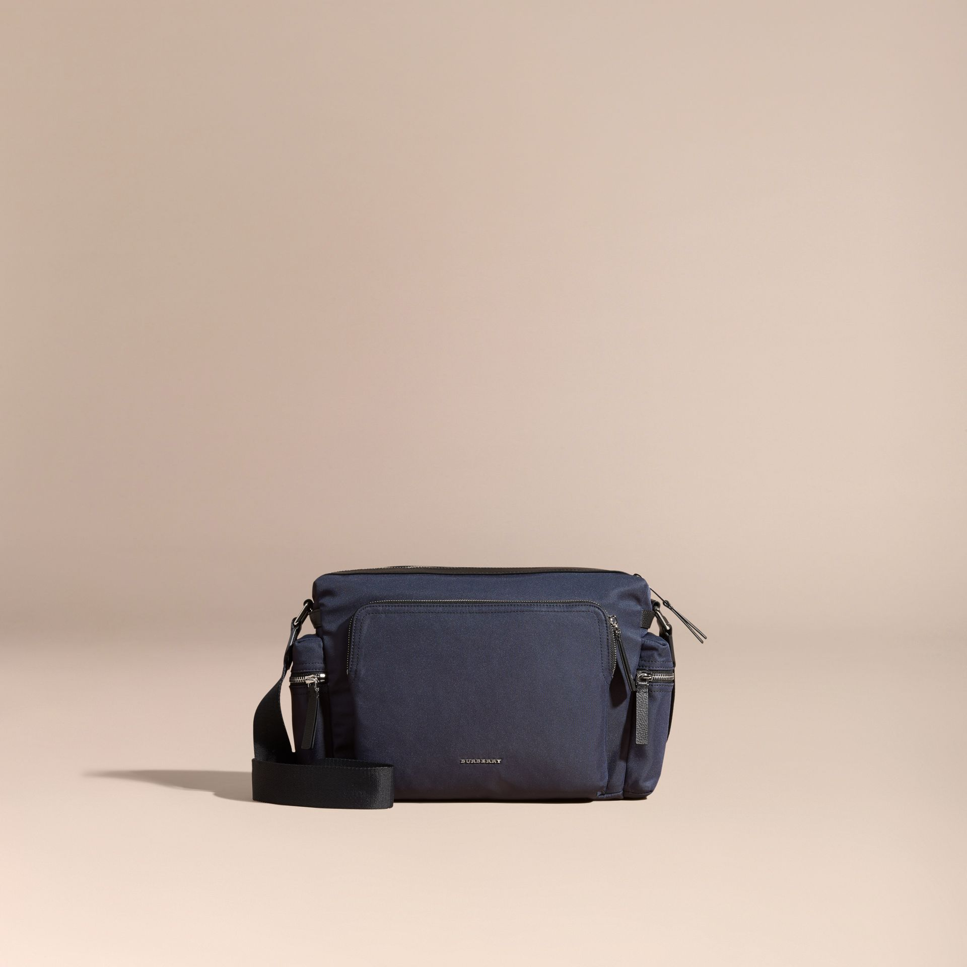 Dark navy Leather Trim Messenger Bag Dark Navy - gallery image 8