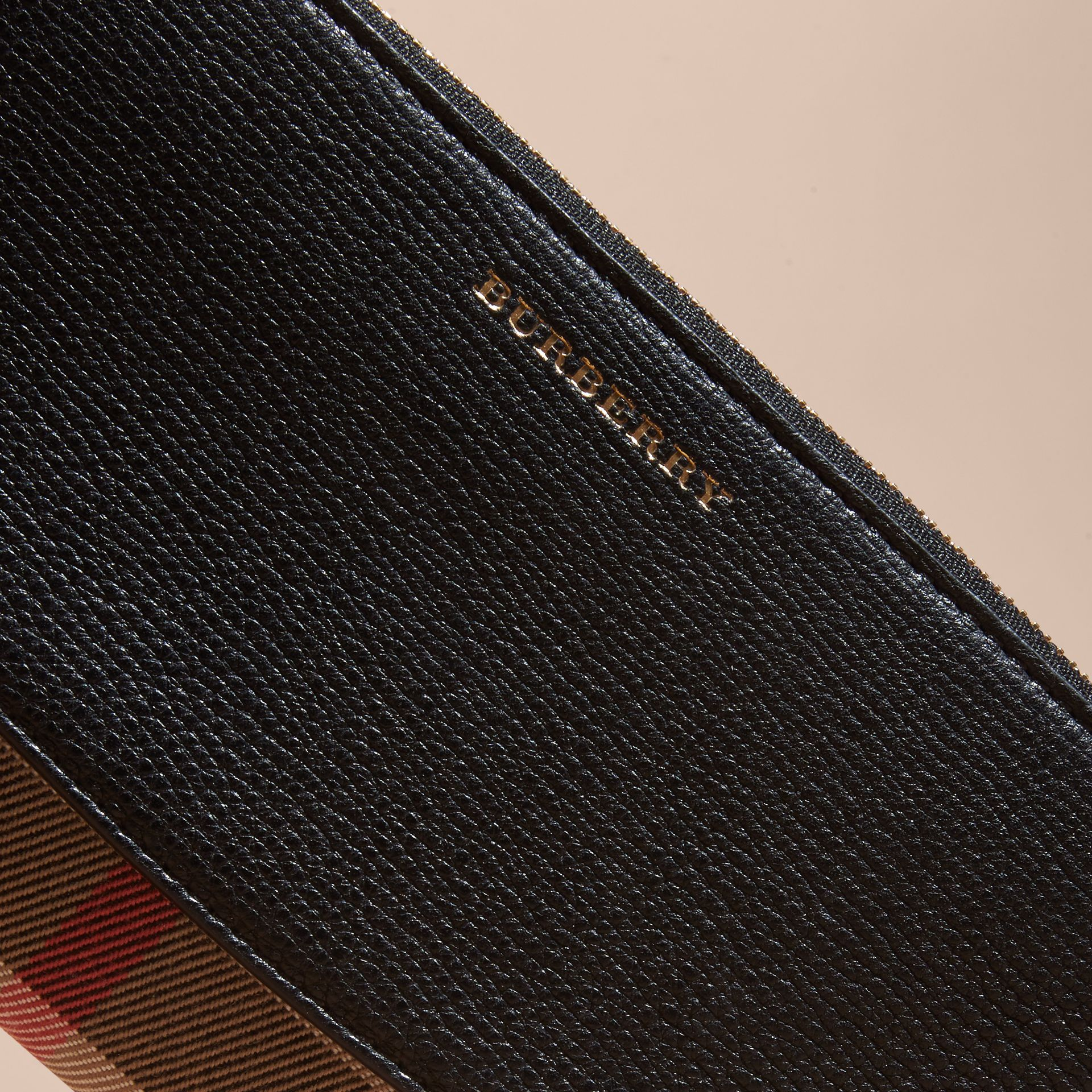 House Check and Leather Ziparound Wallet in Black - Women | Burberry Canada - gallery image 4