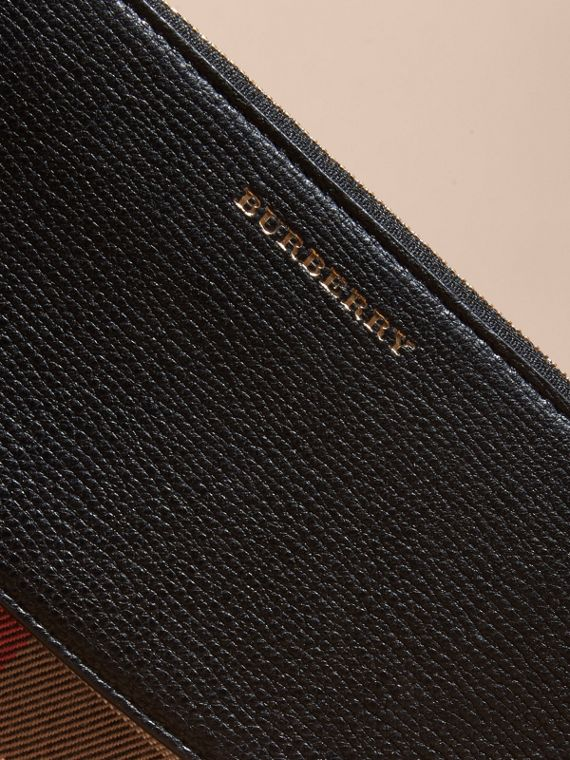 House Check and Leather Ziparound Wallet in Black - Women | Burberry Canada - cell image 3