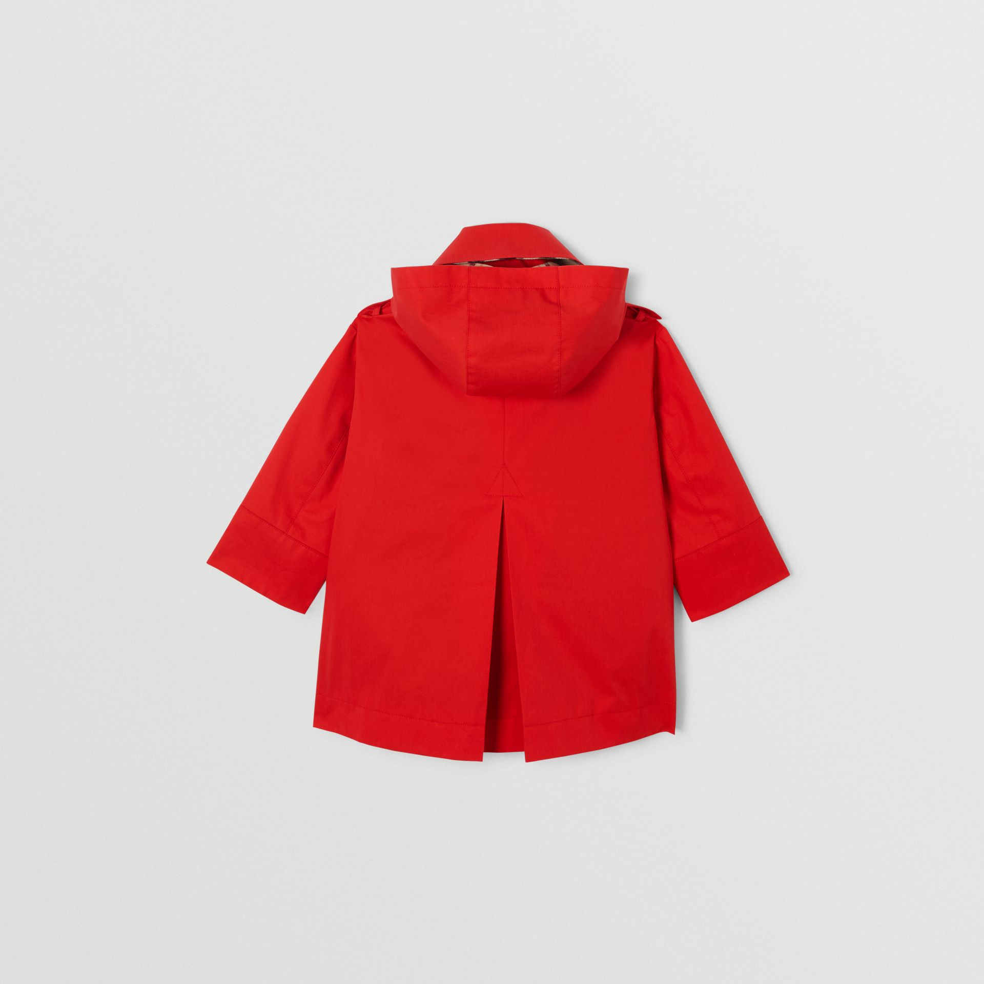 Detachable Hood Showerproof Cotton Trench Coat in Bright Red | Burberry - gallery image 3