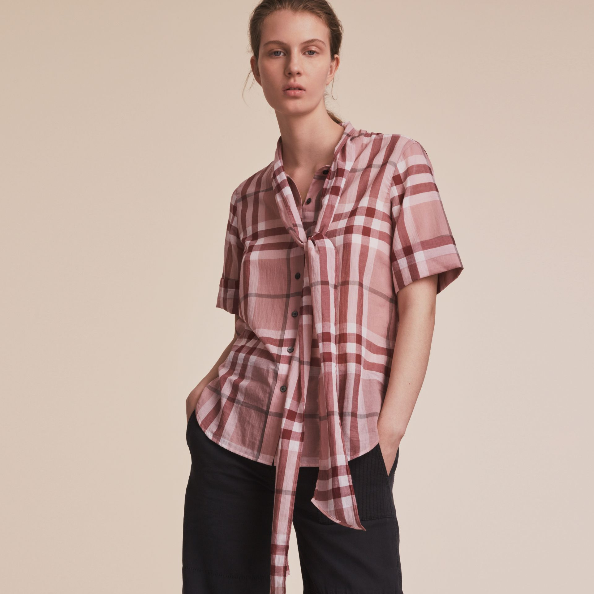 Short-sleeve Check Cotton Tie Neck Shirt Antique Pink - gallery image 6