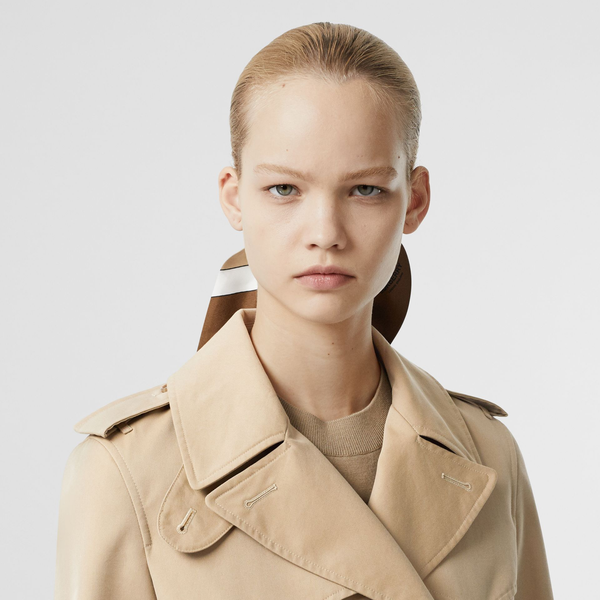 Leather D-ring Detail Cotton Gabardine Trench Coat in Honey - Women | Burberry - gallery image 1