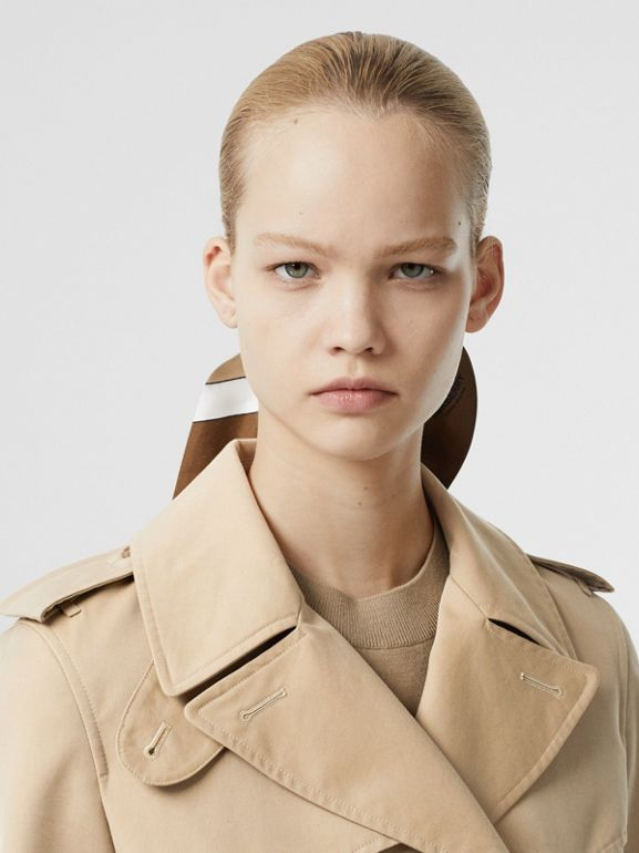 Leather D-ring Detail Cotton Gabardine Trench Coat in Honey - Women | Burberry - cell image 1