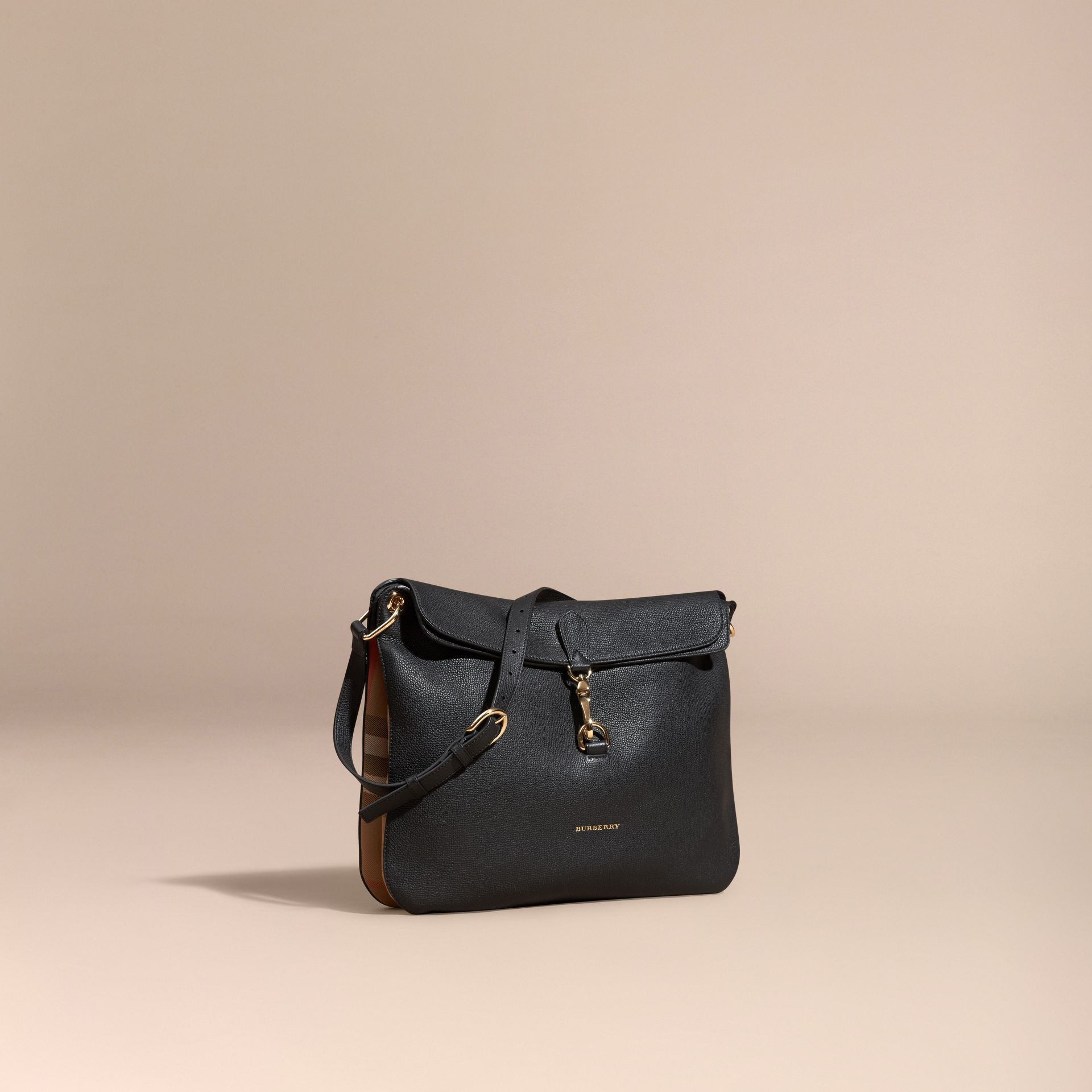 Black Grainy Leather and House Check Shoulder Bag Black - gallery image 1