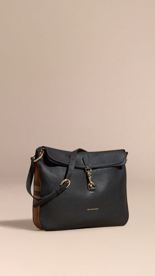 Grainy Leather and House Check Shoulder Bag
