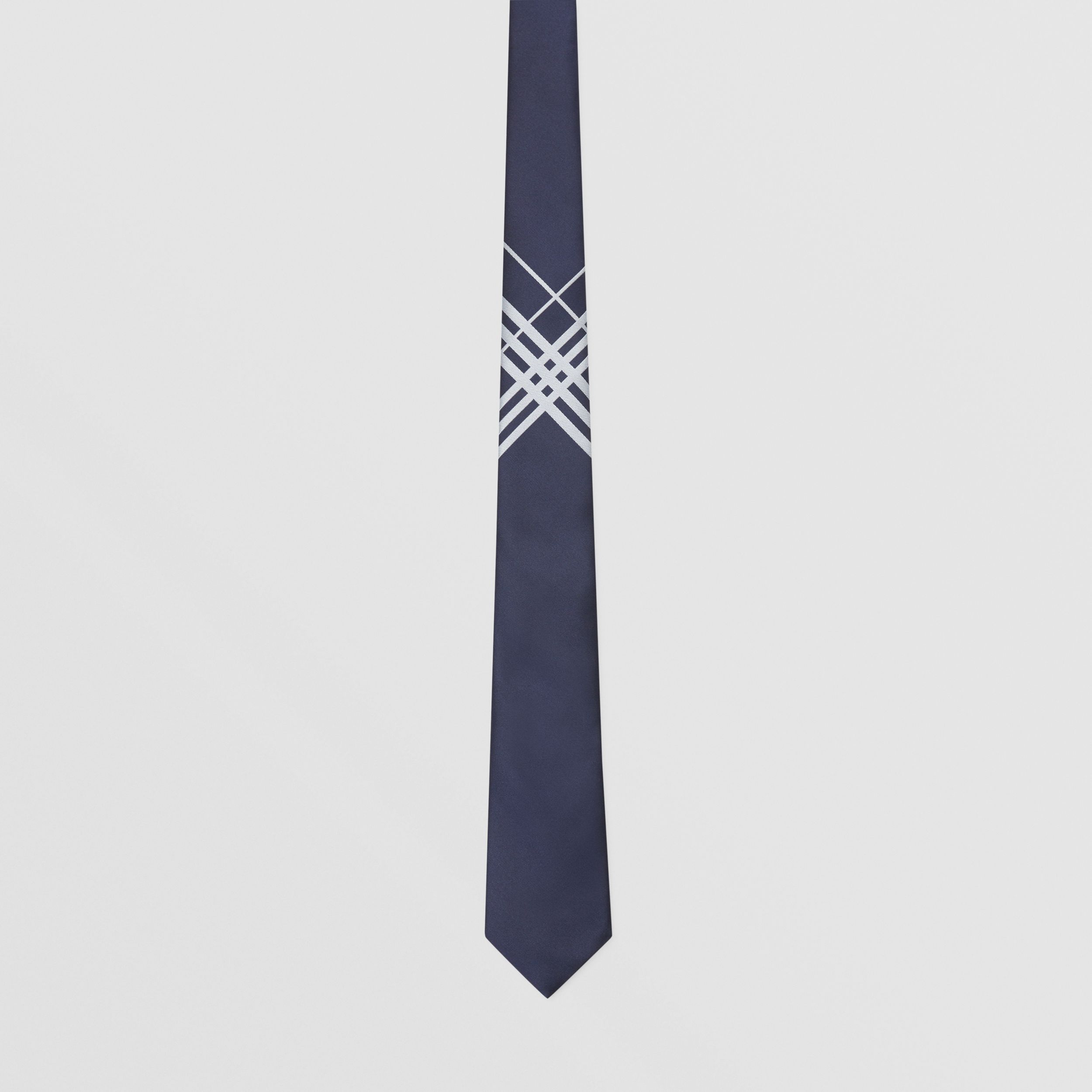 Classic Cut Check Silk Jacquard Tie in Navy - Men | Burberry - 4