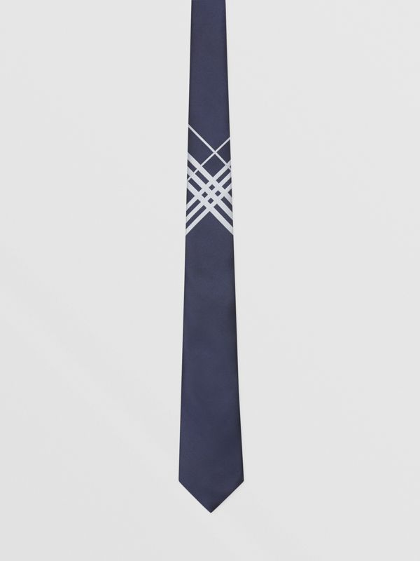 Classic Cut Check Silk Jacquard Tie in Navy - Men | Burberry Hong Kong S.A.R - cell image 3