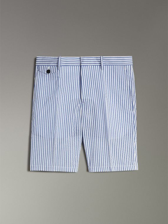 Striped Cotton Blend Tailored Shorts in Navy - Men | Burberry - cell image 3