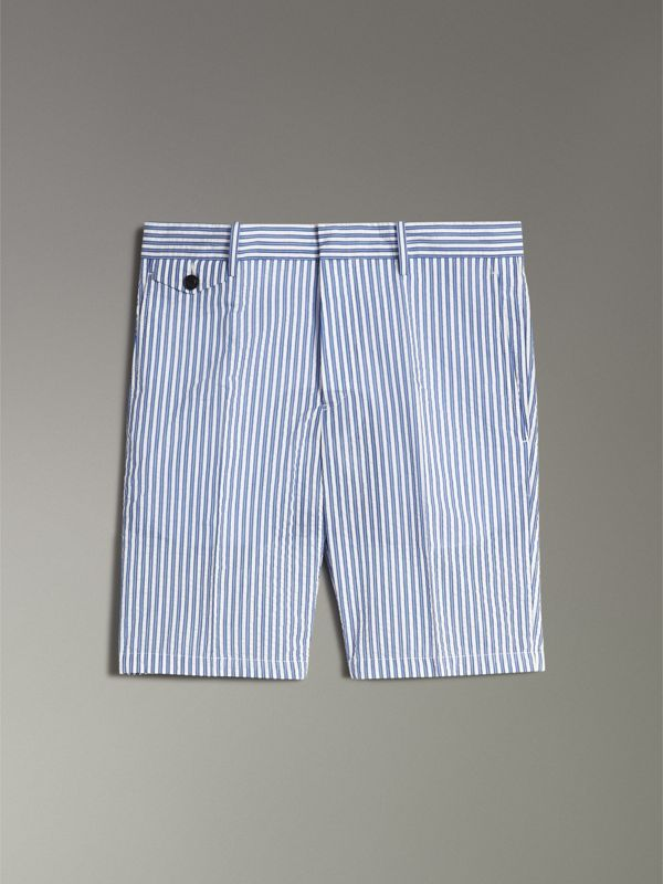 Striped Cotton Blend Tailored Shorts in Navy - Men | Burberry Singapore - cell image 3