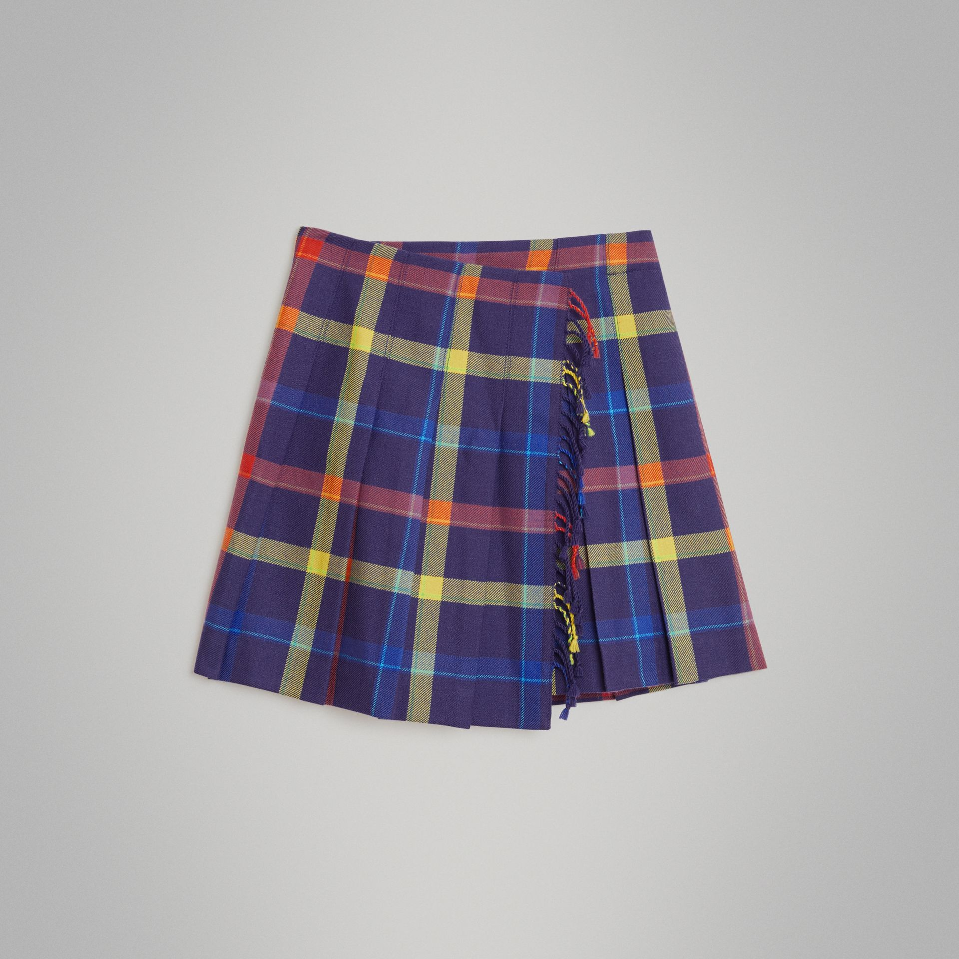 Fringe Detail Tartan Wool Kilt in Bright Navy | Burberry Canada - gallery image 0