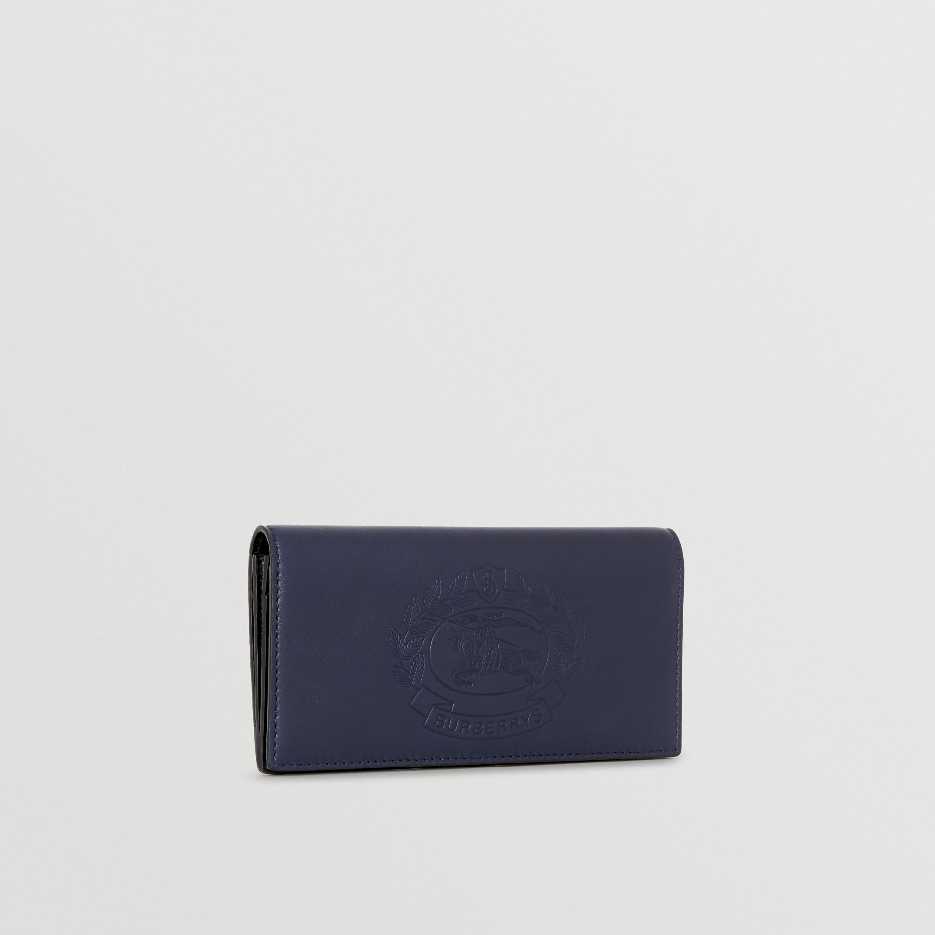 Embossed Crest Leather Continental Wallet in Regency Blue - Men | Burberry - gallery image 4