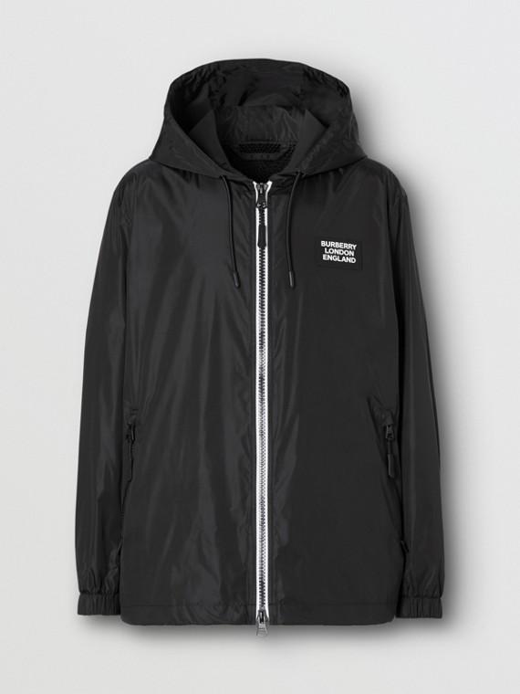 Logo Appliqué ECONYL® Lightweight Hooded Jacket in Black