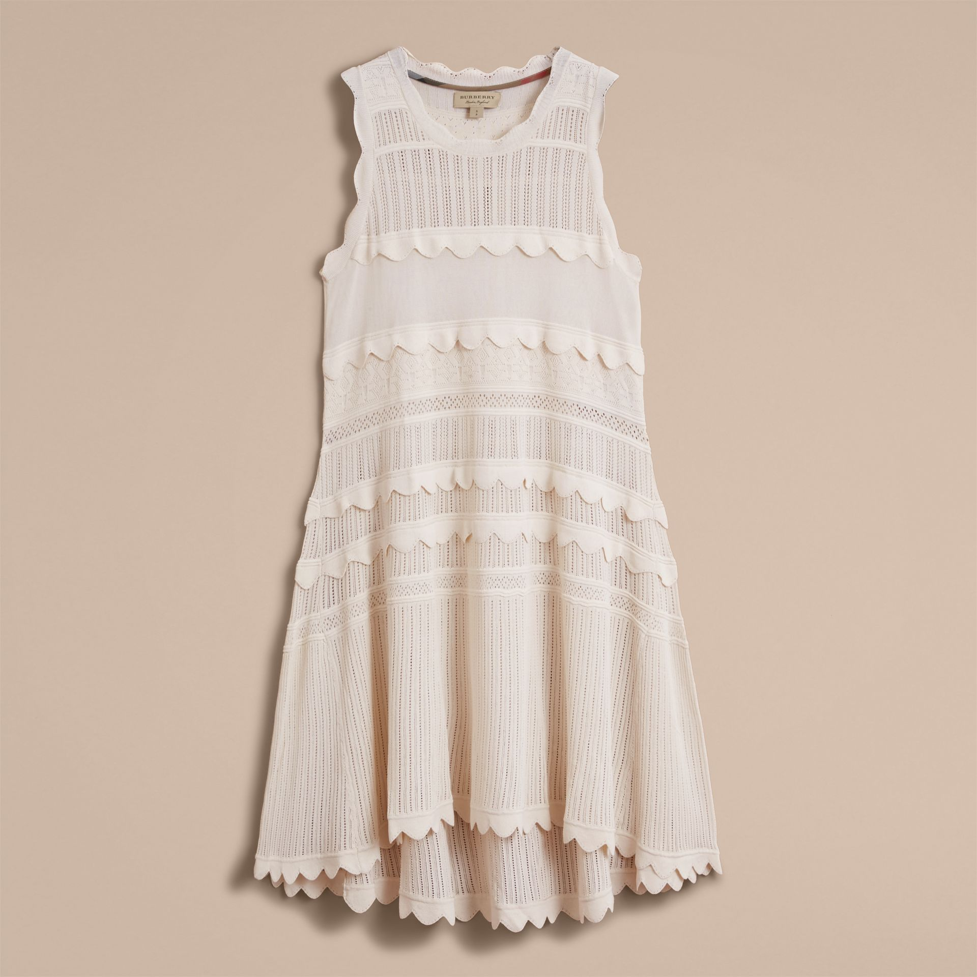 Scallop Detail Multi-stitch Swing Dress in Natural White - Women | Burberry - gallery image 4