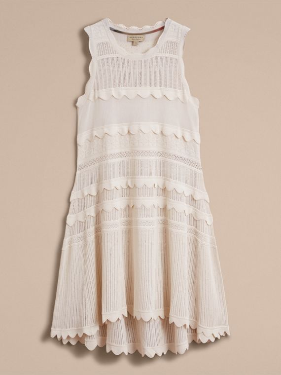 Scallop Detail Multi-stitch Swing Dress in Natural White - Women | Burberry - cell image 3