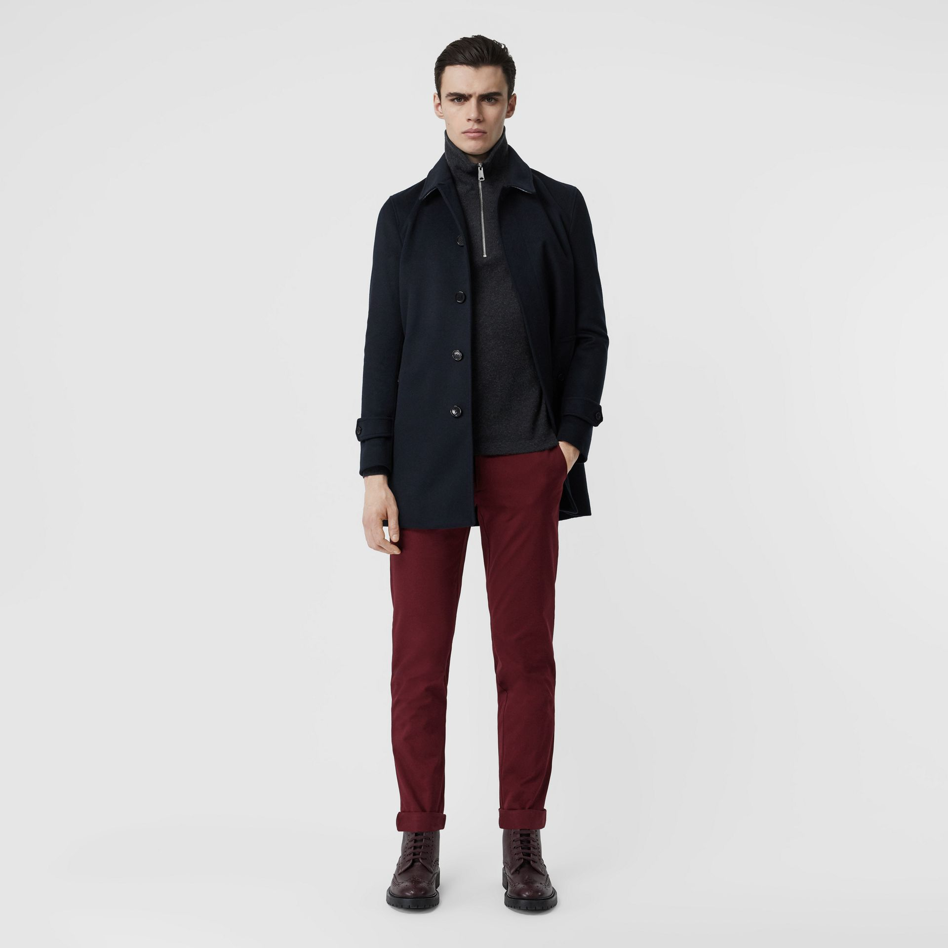 Slim Fit Cotton Chinos in Dark Crimson - Men | Burberry - gallery image 0