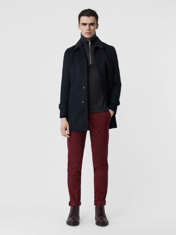 Slim Fit Cotton Chinos in Dark Crimson