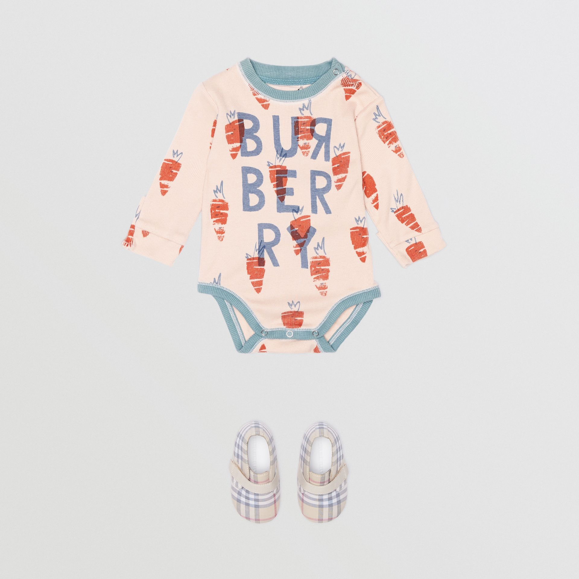 Carrot Print Cotton Bodysuit in Stone - Children | Burberry - gallery image 2
