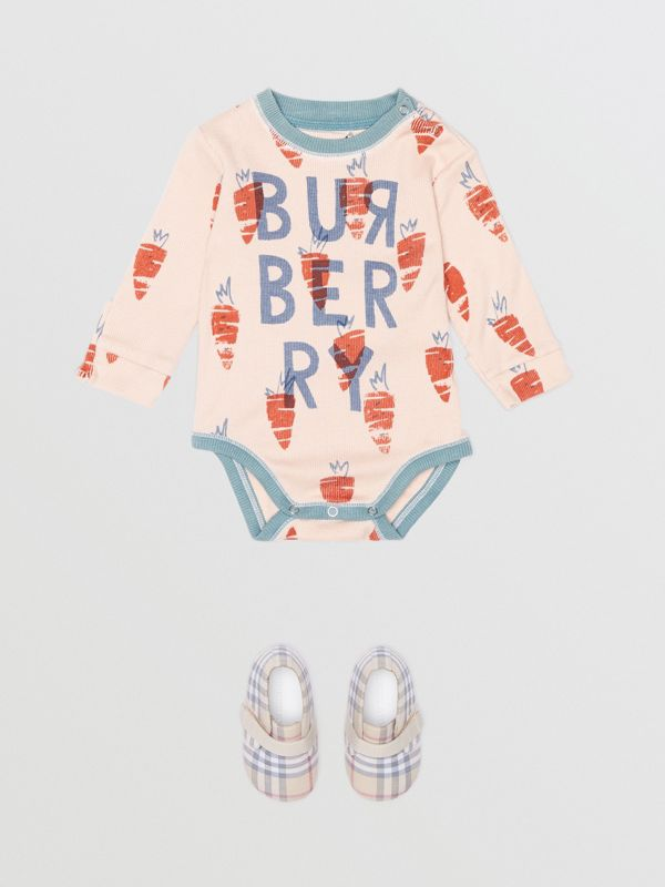 Carrot Print Cotton Bodysuit in Stone - Children | Burberry - cell image 2