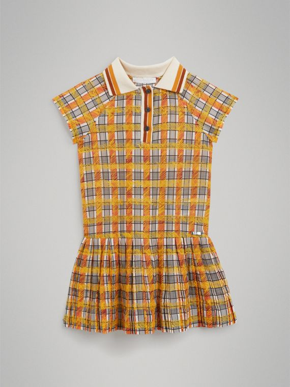 Scribble Check Collared Day Dress in Bright Yellow - Girl | Burberry - cell image 2