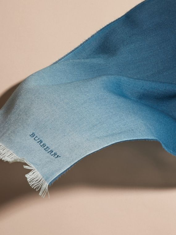 Lupin blue Lightweight Ombré Wool Cashmere Scarf - cell image 3