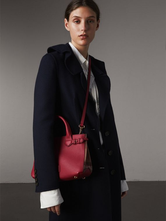 The Small Banner in Leather and House Check in Russet Red - Women | Burberry - cell image 2