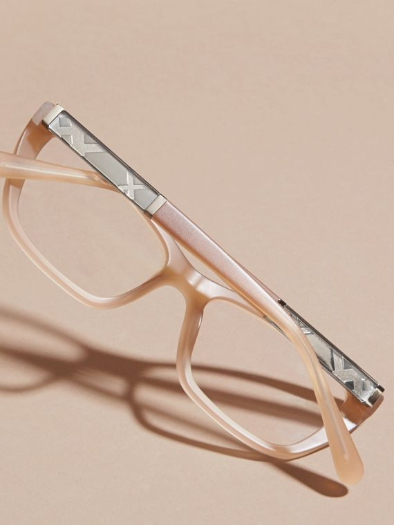 Chino grey Check Detail Rectangular Optical Frames - cell image 3