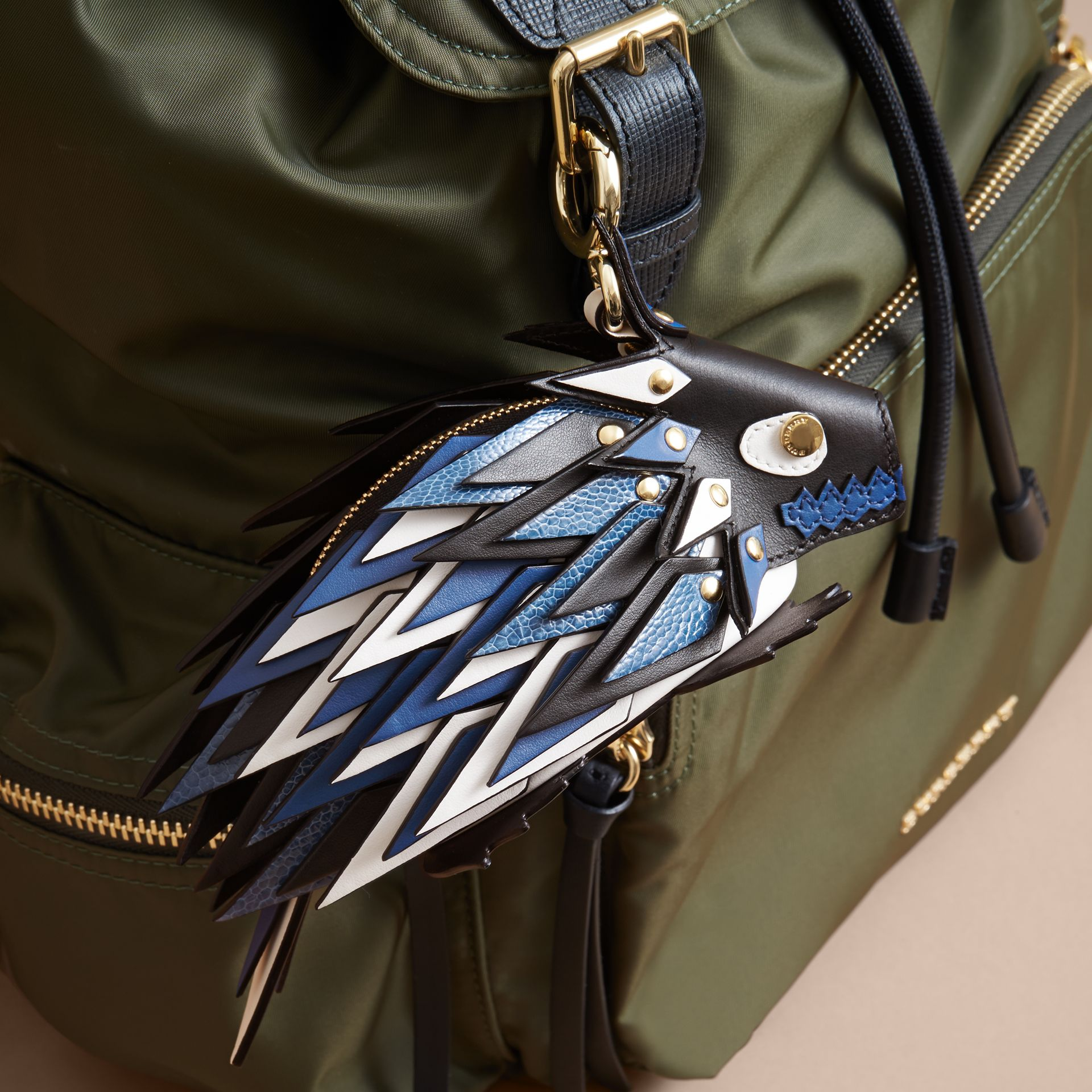 The Hedgehog – Leather and Ostrich Coin Case in Black - Women | Burberry - gallery image 2