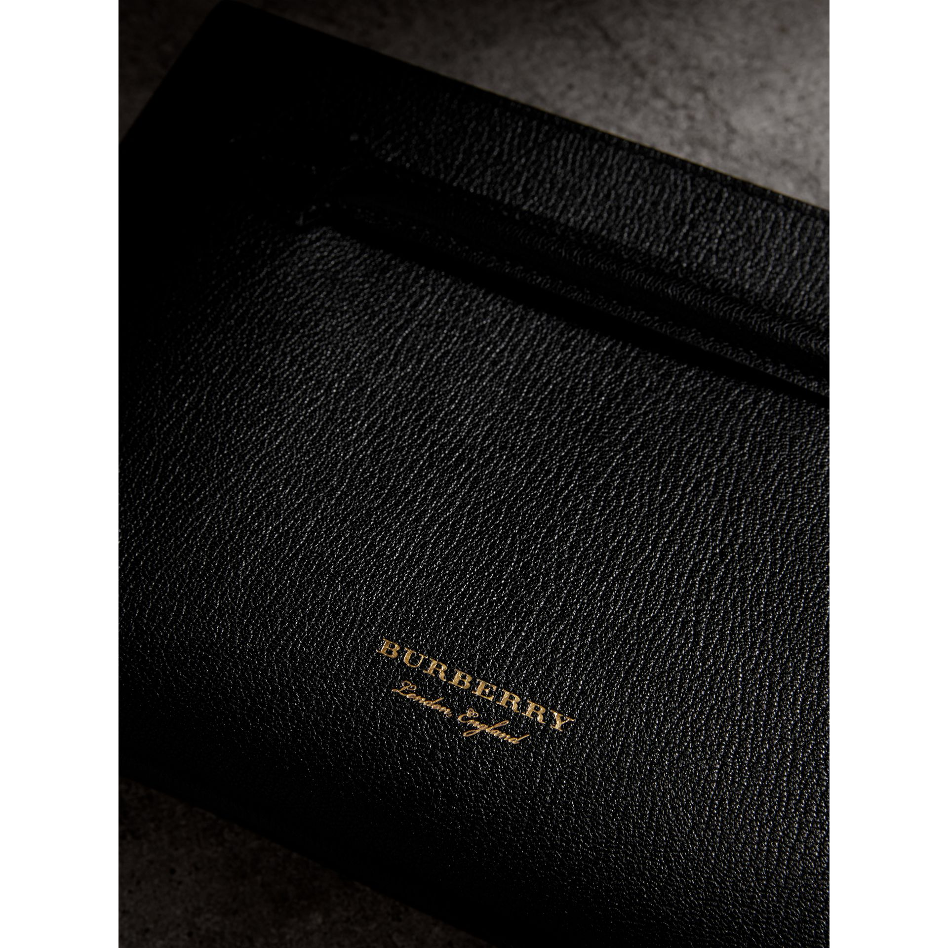 Grainy Leather Wristlet Clutch in Black - Women | Burberry Singapore - gallery image 1