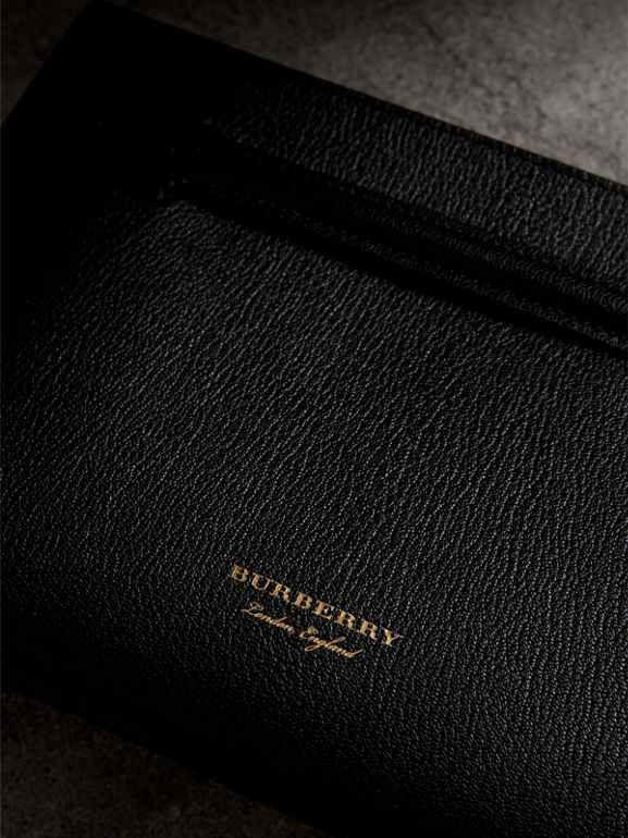Grainy Leather Wristlet Clutch in Black - Women | Burberry - cell image 1