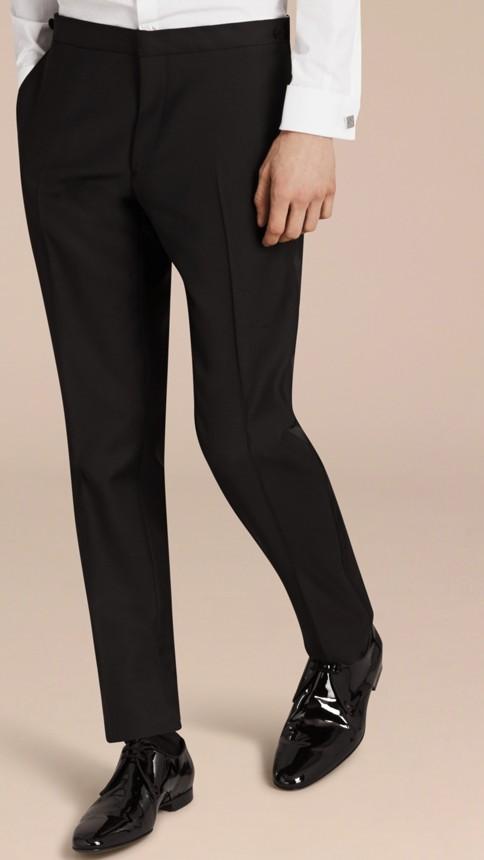 Black Modern Fit Wool Mohair Half-canvas Tuxedo - Image 7