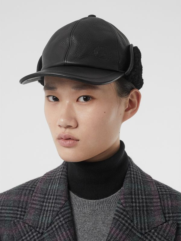 Shearling and Leather Baseball Cap in Black | Burberry - cell image 2