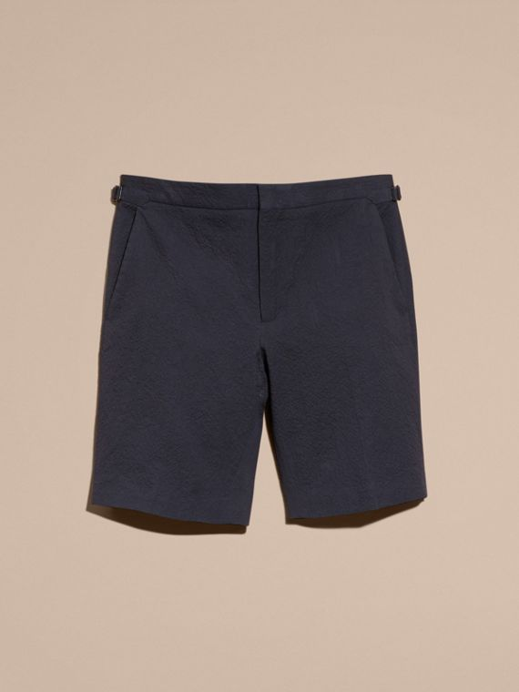 Tailored Stretch Cotton Shorts Navy - cell image 3