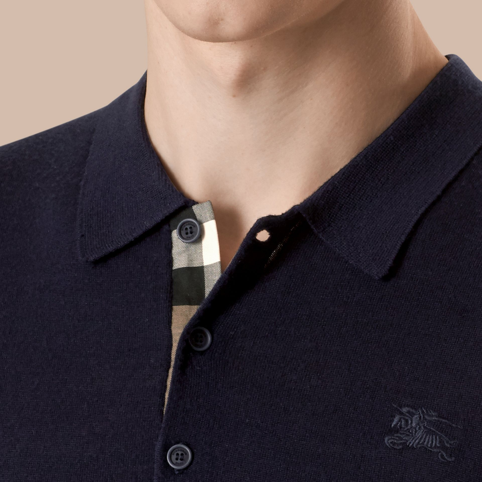 Navy Check Placket Wool and Silk Blend Polo Shirt Navy - gallery image 2