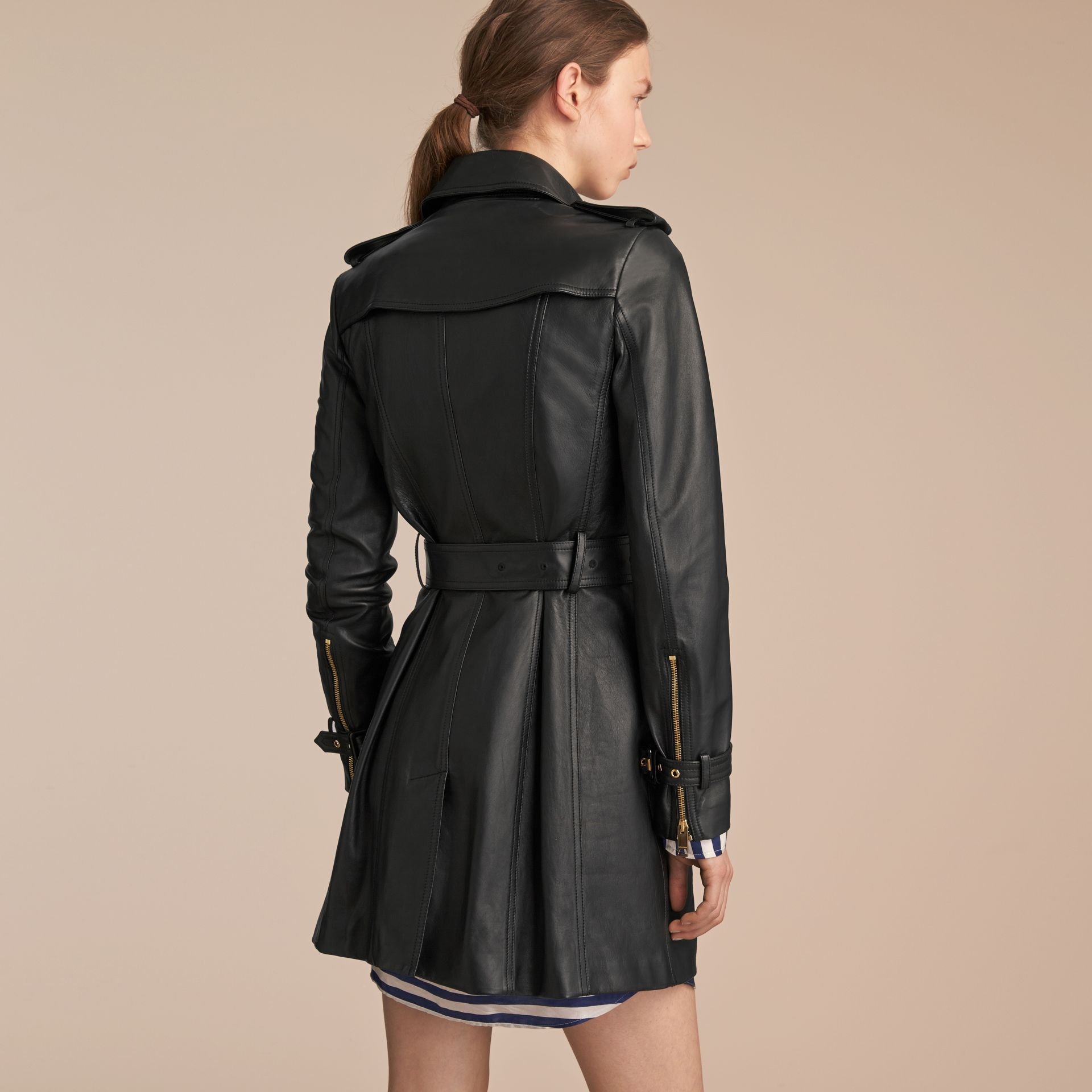 Lambskin Trench Coat in Black - Women | Burberry - gallery image 3