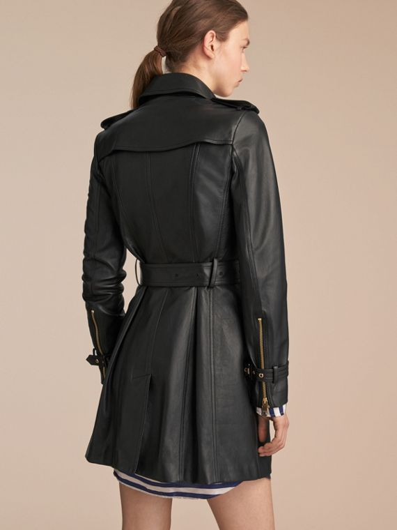 Lambskin Trench Coat in Black - Women | Burberry Australia - cell image 2