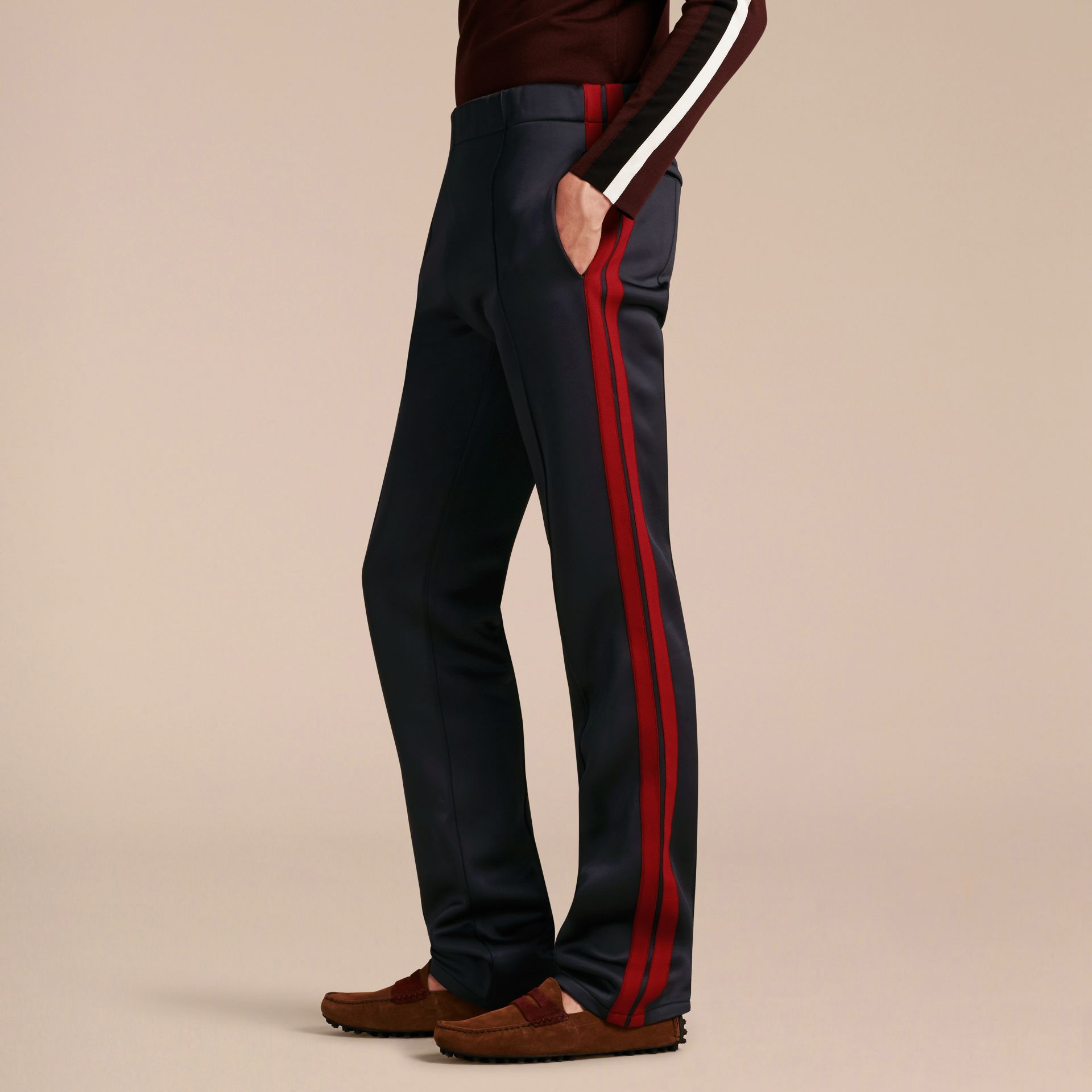 Navy Contrast Stripe Technical Track Pants - gallery image 6