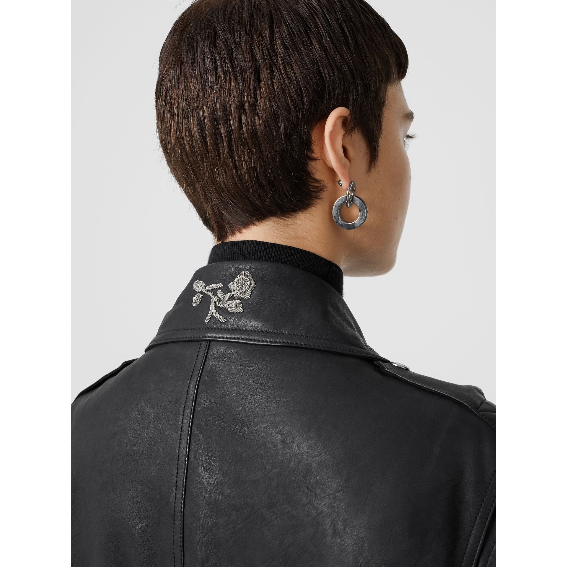 Bullion Floral Lambskin Biker Jacket in Black - Women | Burberry - gallery image 4